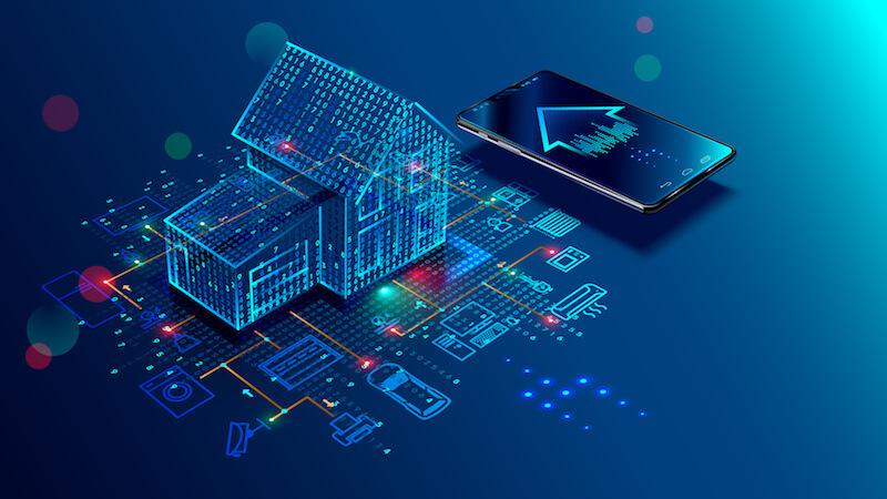 grafische Darstellung eines Hauses mit Smart Home-Technik
