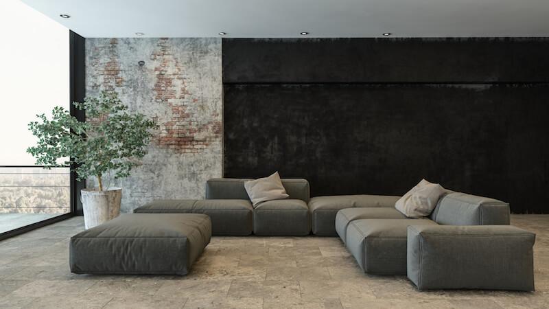 Wohnzimmer mit auffälliger Tapetenwands