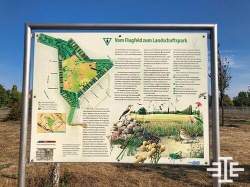 fluggeld zum landschaftspark berlin johannisthal schild