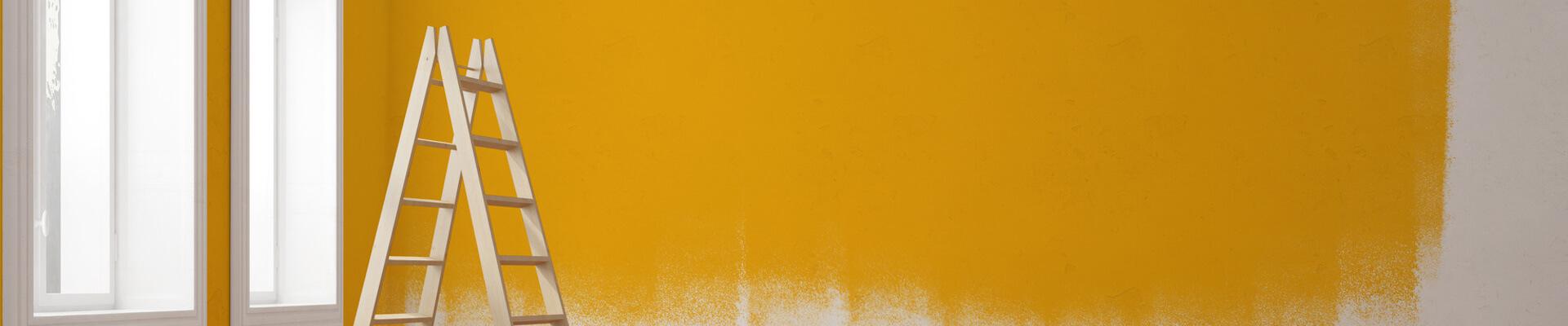 Frisch gestrichene Wohnungswand mit einer Leiter im Vordergrund