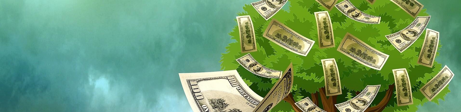 Gemalter Baum und fliegende Geldscheine