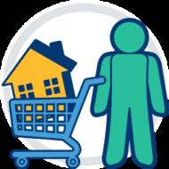 immobilie einkaufswagen menschen tragen